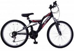 BikeBase Ammaco Black Russian 14/24 18-speed Dual Suspension